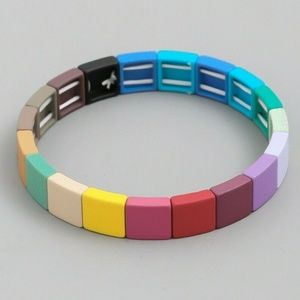 RAINBOW SQUARE TILE BLOCK BEAD STRETCH BRACELET
